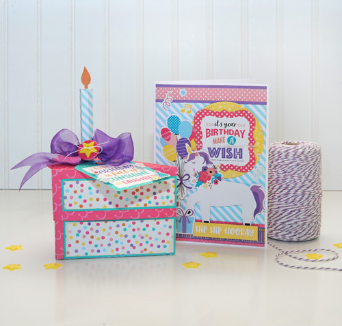"Birthday cake box and coordinating card by Jana Eubank for #EchoParkPaper with their ""Happy Birthday Girl"" Collection"