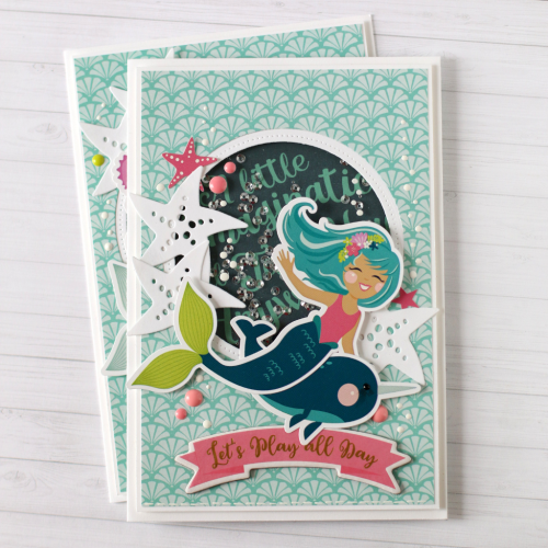 """Mermaid Shaker Card by Anya Lunchenko with the """"Imagine That Girl"""" collection by #EchoParkPaper"""