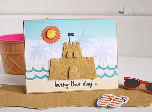"""Sand castle card by Kimberly Crawford with the """"Summer Party"""" collection and designer dies by #EchoParkPaper"""