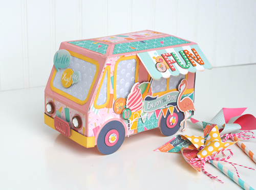 "3D Ice Cream Truck by Jana Eubank for #EchoParkPaper with the ""Summer Dreams"" collection"