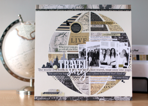 "Travel Story scrapbook layout by Anya Lunchenko for #CartaBellaPaper with their ""Transatlantic Travel"" collection"