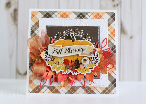 """Beautiful embossed """"Fall Blessings"""" card by Anya Lunchenko using the """"Hello Fall"""" collection kit and embossing folder by #CartaBellaPaper"""