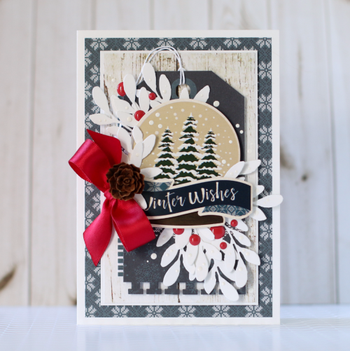 Christmas Card Inspiration Week: Winter Wishes Card by Anya Lunchenko for #EchoParkPaper and #CartaBellaPaper