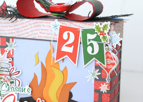 """3D Santa and Fireplace Gift Box Project created by Jana Eubank with the """"A Very Merry Christmas"""" by #CartaBellaPaper"""