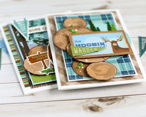 """Masculine card set by Anya Lunchenko with the """"Gone Camping"""" collection by #CartaBellaPaper"""