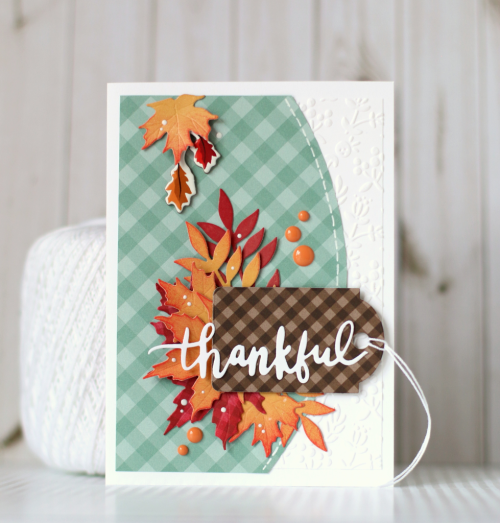 4Autumn Gingham Card Set by Anya Lunchenko featuring products from #EchoParkPaper, including Dots and Stripes, Autumn Gingham, Designer Dies, and Designer Embossing Folders.