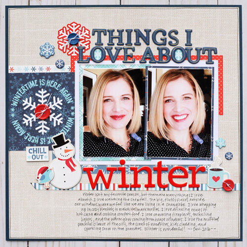"Winter scrapbook layout by Jana Eubank featuring the ""Celebrate Winter"" collection by #EchoParkPaper"