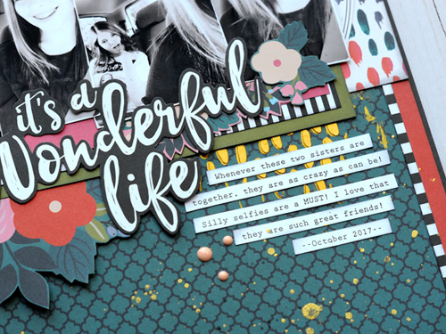 "It's a Wonderful Life scrapbook page by Jana Eubank for #EchoParkPaper with the ""Coffee"" collection and designer stencil"