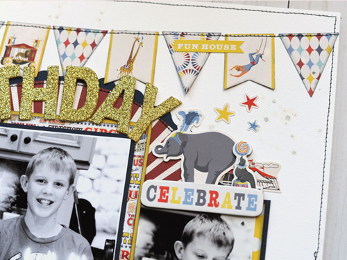 "Birthday Wish layout by Jana Eubank featuring the ""Circus"" collection by #CartaBellaPaper"