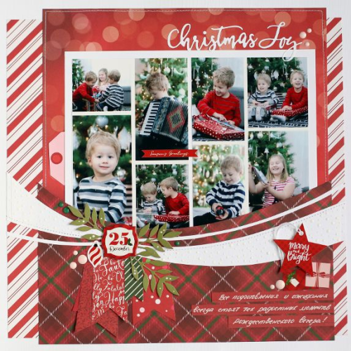 "Christmas layout with lots of photos by Anya Lunchenko featuring the ""Merry & Bright"" collection by #EchoParkPaper"