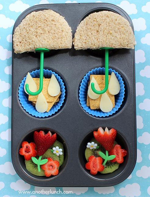 Children's snacks inside a muffin tin