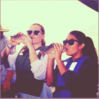 Kissing fish at CBF's Karen Noonan Center with my friend Hanna!