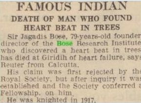 Newspaper clipping announcing death of JC Bose
