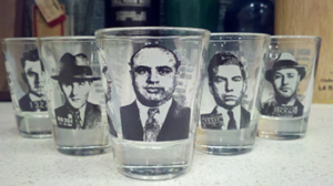 Want to drink like a bad boy or girl?  Follow the lead of these guys (left to right, John Dillinger, Bugsy Siegel, Al Capone, Lucky Luciano, Machine Gun Kelly)