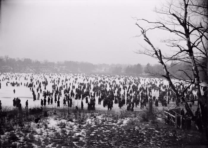 A large crowd of people standing in a wide-open snowy park