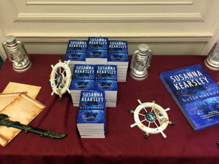 A display of Susanna's books on a table