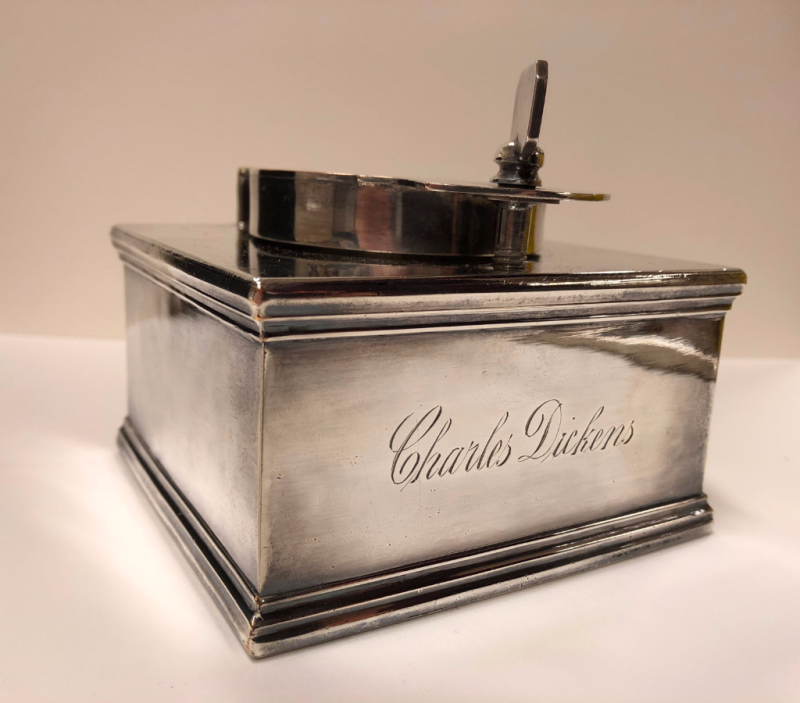 Charles Dickens' travelling silver ink stand