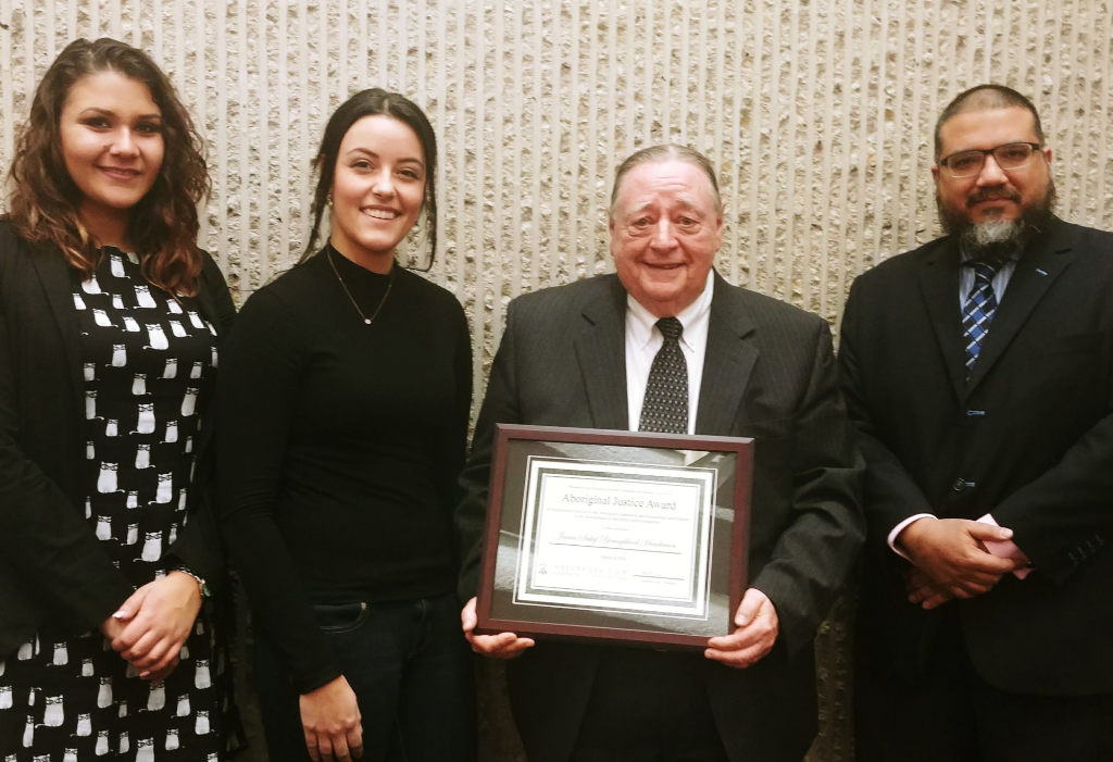d66661f38dd Professor Youngblood Henderson (center right) holding the Aboriginal  Justice Award  Indigenous Law Students  Association President