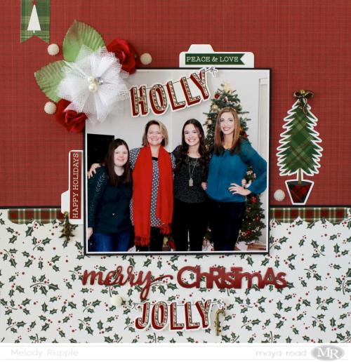 Holly Jolly 12 x 12 Scrapbook Layout