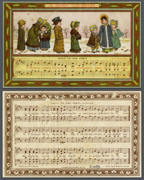 Two images  one of the front of a card that shows children  in the snow and the beginning of a song Going to the Party with its musical score