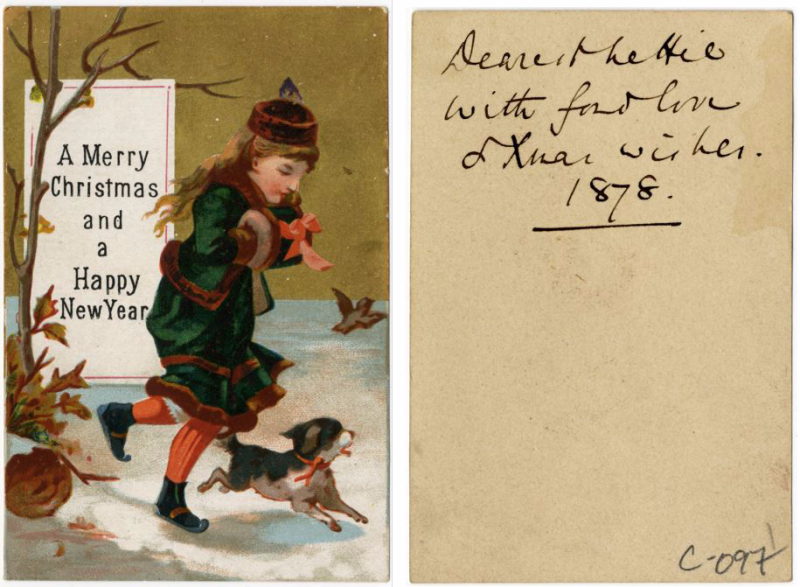 On the left is the front of a postcard with a girl in a snowy setting  on the right is the back of that postcard with an inscription on it