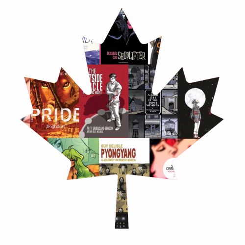 Graphic of maple leaf made out of comic covers