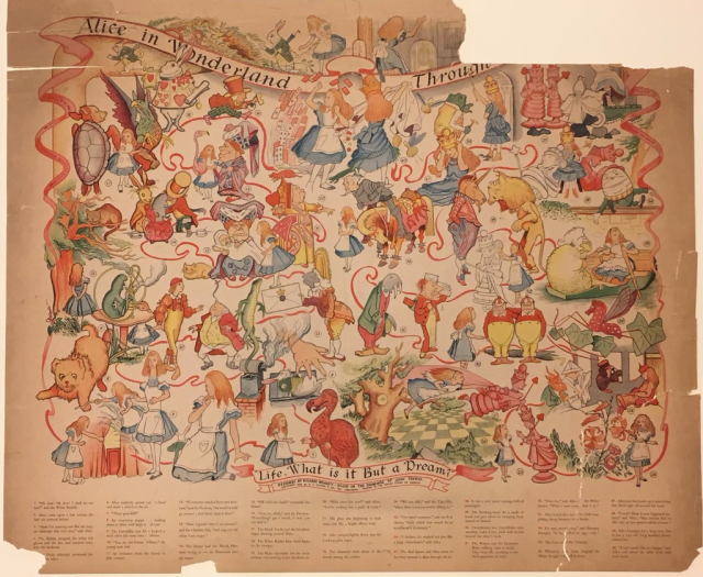 Illustrated poster of several colourful characters, with a ripped piece missing in the upper right