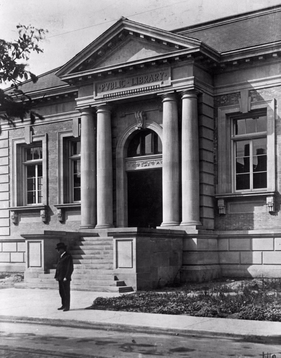 Front entrance of the Yorkville Branch in 1907, Toronto Public Library's oldest branch and now home of the LGBT collection.